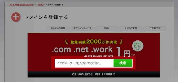 お名前.comのドメイン入力欄の画像
