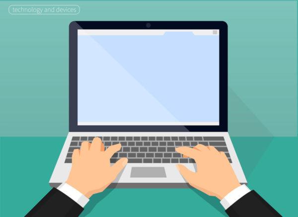 パソコンでブログを書くイメージイラスト
