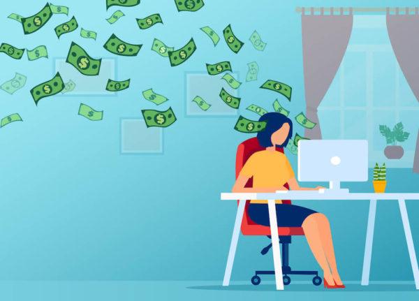 PCを使ってお金を稼ぐ女性